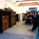 Letterpress Studio with Golding Pearl No 3 Treadle Press and Heidelberg Windmill 10x15
