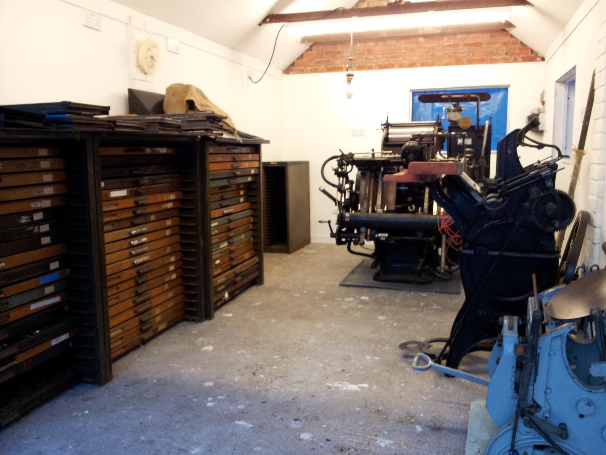 Letterpress Studio with Golding Pearl No 3 Treadle Press and Heidelberg Windmill 10x15