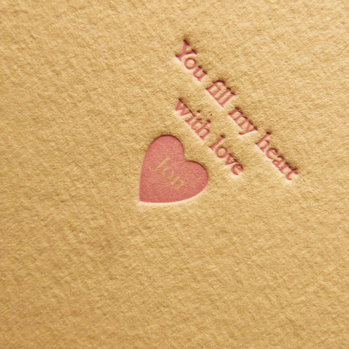 I LOVE YOU VALENTINES LETTERPRESS HEART 2